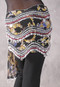 Egyptian New Wave Wrap Hip Scarf in a Floral Print with Silver and Red Beads with Silver Coins