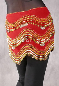 Red Egyptian New Wave Wrap Hip Scarf with Gold