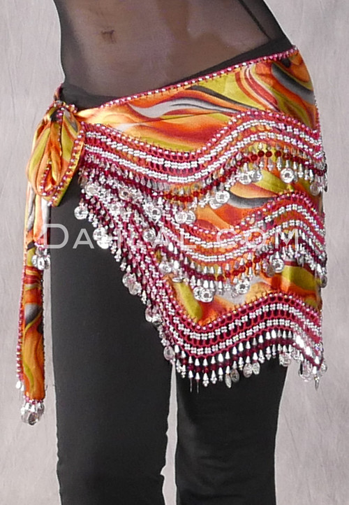 Multi-color Egyptian New Wave Wrap Hip Scarf with Silver