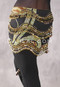 Black and Green Animal Print Egyptian New Wave Wrap Hip Scarf with Gold