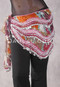 Graphic Printed Egyptian New Wave Wrap Hip Scarf with Silver