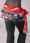 Red Two Layer Multi-color Paillette and Coin Hip Scarf