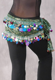 Green and Gold Two Layer Multi-color Paillette and Coin Hip Scarf