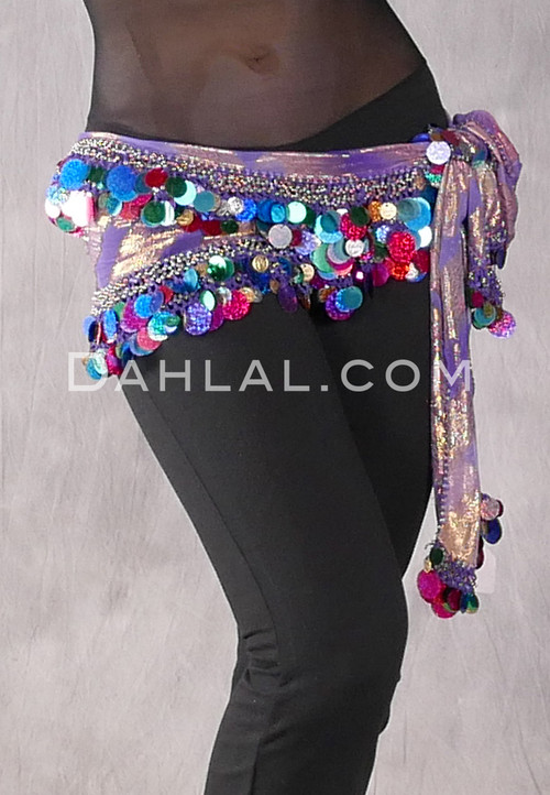Purple Two Layer Multi-color Paillette and Coin Egyptian Hip Scarf