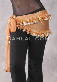 Light Orange Two Layer Paillette and Coin Egyptian Hip Scarf