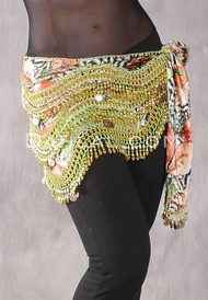 Floral Egyptian New Wave Wrap Hip Scarf with Gold Coins