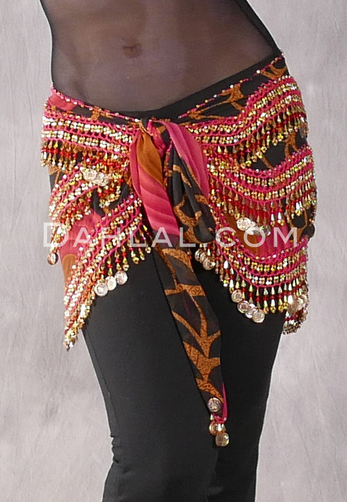 Egyptian New Wave Wrap Hip Scarf in a Graphic Print with Gold Coins