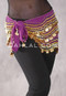 Deep Orchid Egyptian New Wave Wrap Hip Scarf with Gold Coins