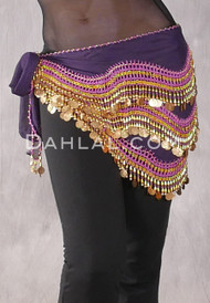 Indigo Egyptian New Wave Wrap Hip Scarf with Gold Coins