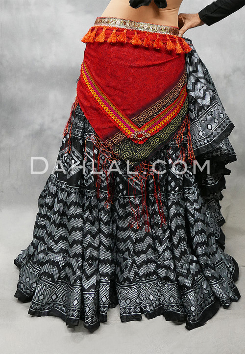 Red Tribal Print Scarf with Fringe and Tassels