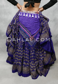 Purple Tribal Print Scarf with Fringe and Tassels