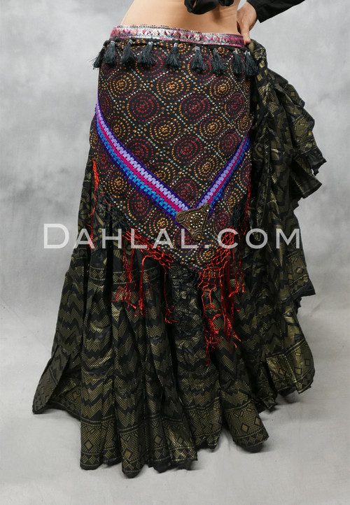 Black Tribal Print Scarf with Fringe and Tassels