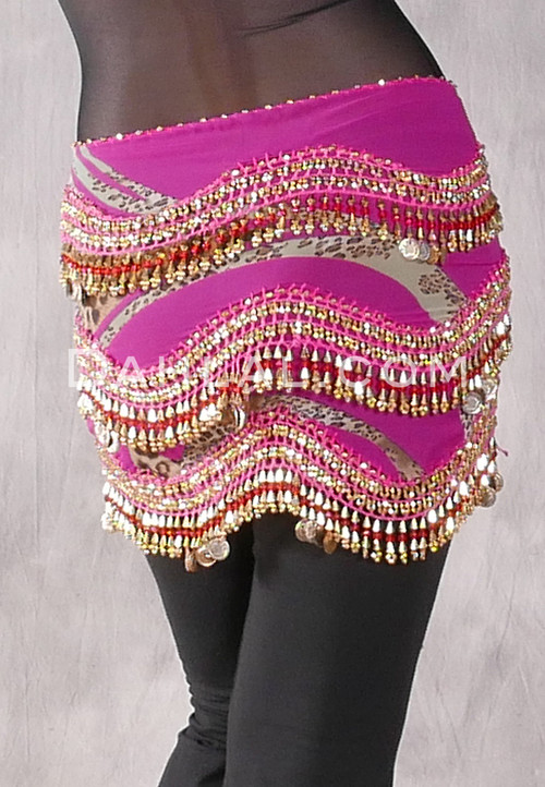 Fuchsia Animal Print Egyptian New Wave Wrap Hip Scarf