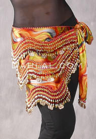 Egyptian New Wave Wrap Hip Scarf in Multi-color with Gold