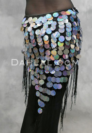 Silver on Black Hand-Crocheted Paillette Shawl from Egypt