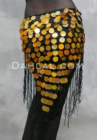 Gold on Black Hand-Crocheted Egyptian Paillette Shawl