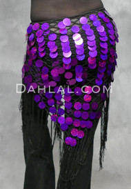 Purple on Black Hand-Crocheted Egyptian Paillette Shawl