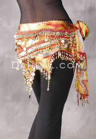 Egyptian Teardrop Wave Wrap Hip Scarf - Graphic Print #86 with Gold