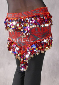 Ikat Print Egyptian Triangle Hip Scarf with Paillettes and Coins for belly dance