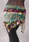 Green Floral Print Egyptian Triangle Hip Scarf with Paillettes and Coins