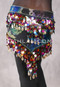 Hunter Green Floral Egyptian Triangle Hip Scarf with Paillettes and Coins