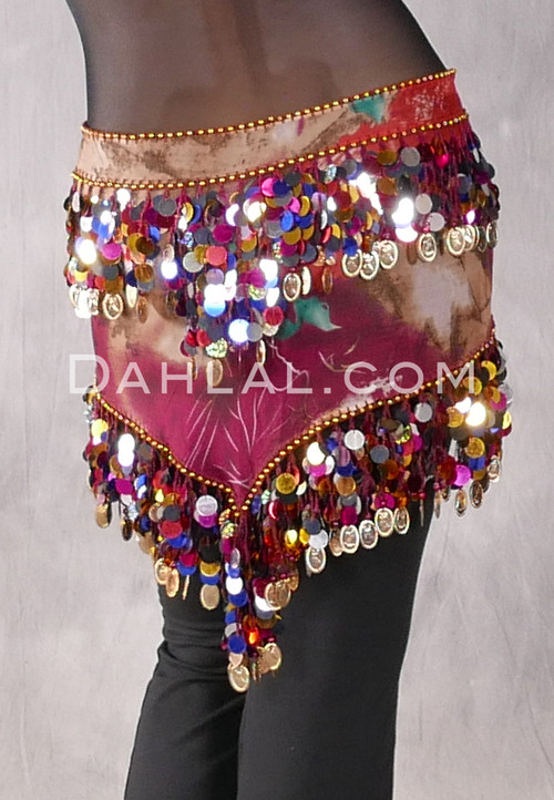 Wine and Green Graphic Print Egyptian Triangle Hip Scarf with Paillettes and Coins