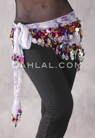 Purple and Blue Graphic Print Egyptian Triangle Hip Scarf with Paillettes and Coins