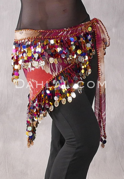 Wine Graphic Print Egyptian Triangle Hip Scarf with Paillettes and Coins