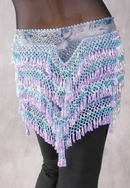 "Deep ""V"" Beaded Loop Egyptian Hip Scarf - Graphic Print, Lavender, Blue and Silver"