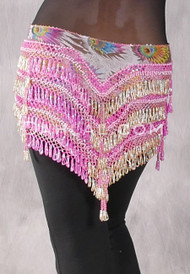 "Deep ""V"" Beaded Loop Egyptian Hip Scarf - Peacock Print with Deep Pink and Gold"