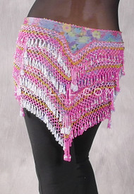 "Deep ""V"" Beaded Loop Egyptian Hip Scarf - Floral Print with Deep Pink, Pale Blue and Gold"