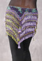 "Deep ""V"" Beaded Loop Egyptian Hip Scarf - Floral Print with Lavender, Lime and Gold"
