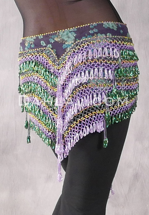 """Deep """"V"""" Beaded Loop Egyptian Hip Scarf - Floral Print with Lavender, Kelly Greenand Gold"""