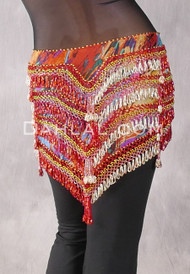 "Deep ""V"" Beaded Loop Egyptian Hip Scarf - Animal Print with Red and Gold"