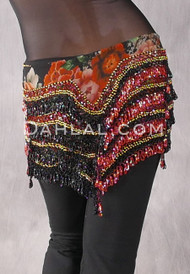 "Deep ""V"" Beaded Loop Egyptian Hip Scarf - Floral Print with Black, Deep Orange Iris and Gold"