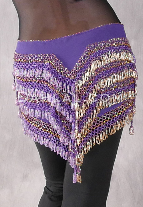 """Deep """"V"""" Beaded Loop Egyptian Hip Scarf - Solid Purple with Lavender Iris and Gold"""