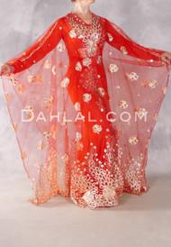 Red Floral Medallion Three Piece Abaya Set