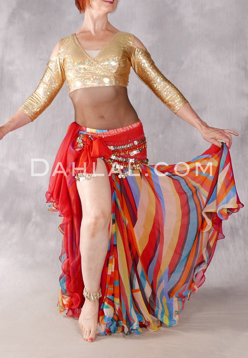 Multi-color Striped Chiffon Skirt with Red Underskirt