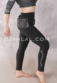 Matte Black Cotton Lycra Legging with Bellydancer Logo