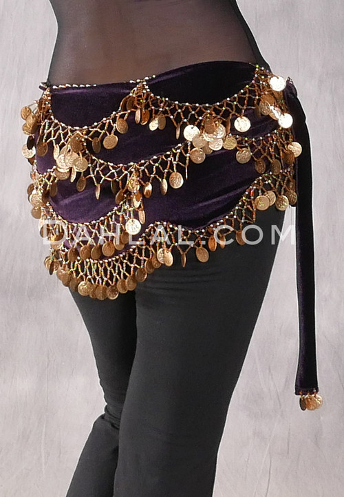 Purple and Gold Velvet Hip Scarf