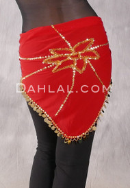Red Egyptian Bead and Paillette Triangular Hip Scarf