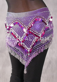 Beaded Paillette Egyptian Hip Scarf in Gradient Orchid and Silver