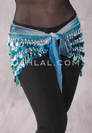Teal and Silver Beaded Loop Egyptian Hip Scarf