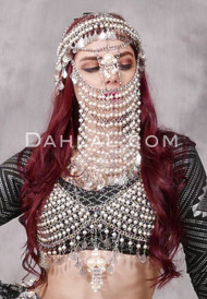 Rhinestone and Pearl Silver Chain Face Veil