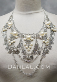 Rhinestone and Pearl Silver Chain Necklace