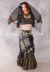 Black and Gold Silk Brocade Low-High Ruched Skirt #22