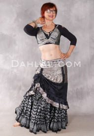 Black and Silver Silk Brocade Low-High Ruched Skirt, #9