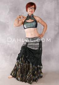 Silk Brocade Low-High Ruched Skirt - Dark Forest Green And Silver, Skirt #2