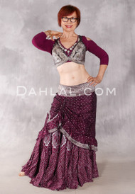 Silk Brocade Low-High Ruched Skirt - Wine and Antique Silver, Skirt #11
