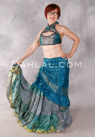 Silk Brocade Low-High Ruched Skirt - Teal And Antique Silver, Skirt #16